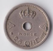 Norway, Haakon VII, 25 Ore 1927, VF, WE1457